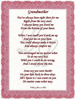 Grandmother poem is for the grandmother who has loved you all her life ...
