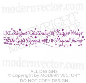 STARDUST Glistening Little Girls Dreams Quote Vinyl Wall Decal ...