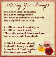 ... someone. It perfectly describes the way my mom & my grandfather died