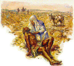 The Samaritan helps the wounded man