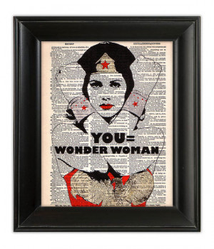 YOU Equals Wonder Woman ORIGINAL Art Quote Hand Painted Mixed Media ...