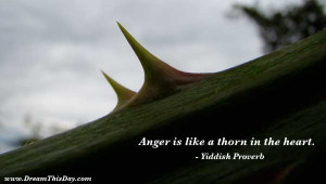 Anger is like a thorn in the heart .