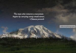 The man who removes a mountain begins by carrying away small stones ...