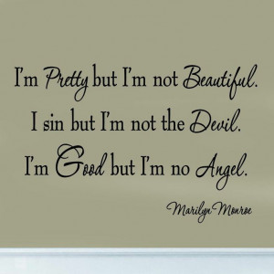Pretty But I'm Not Beautiful Marilyn Monroe Decal Vinyl Wall Quote ...