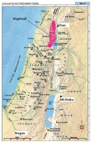 ... this with a map of Israel, with all the places Moses saw marked