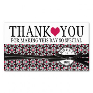 Cute Pink Heart and Pattern Sweet 16 Thank You Business Card