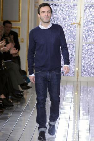 Nicolas Ghesquiere on the runway at the Balenciaga fashion show during ...