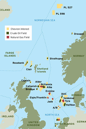 ... oil and gas fields north and east of Britain, according to media