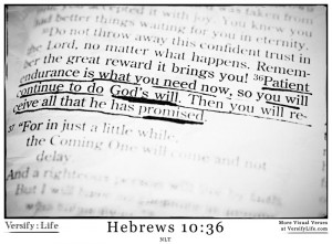 endurance is what you need now, so that you will continue to do God ...