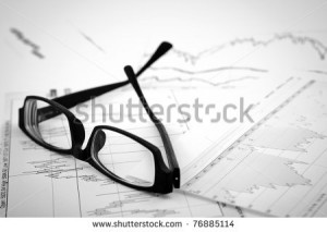 ... in stock market: on the charts and quotes prints, the eyeglasses