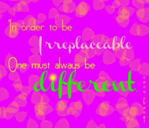 coco #chanel #irreplaceable #photoshop #quote #different #typography
