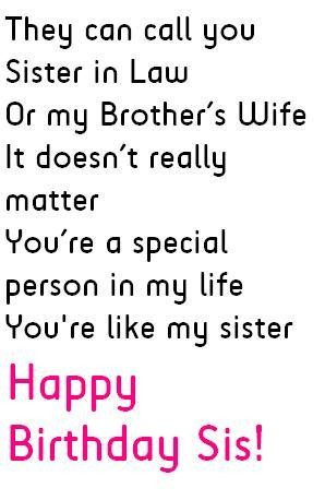 Sister in law birthday quotes