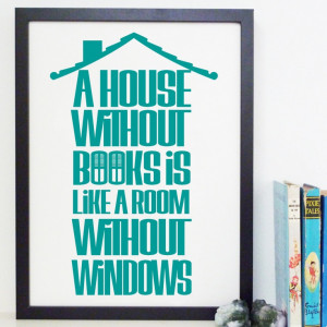 House Without Books - Book Quote Typography Library Poster Print ...