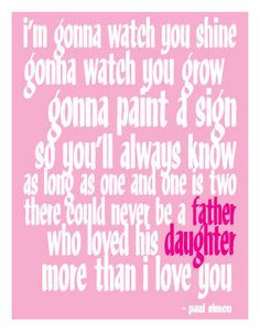Paul Simon - Father & Daughter Quote 11x14 Digital Print. $10.00, via ...