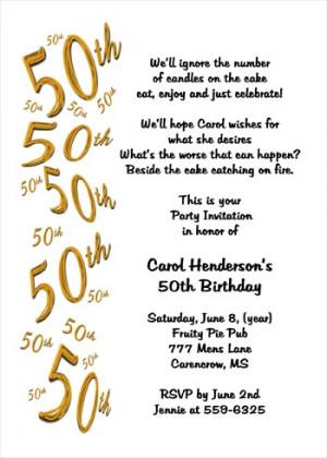 50th Birthday Quotes Invitation. QuotesGram
