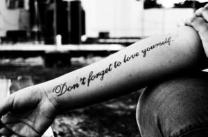 arm, black, love, nice, quote, tattoo, text, white