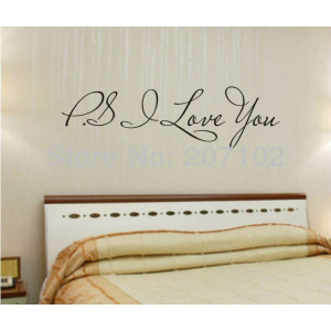 Promotion PS I Love You Vinyl wall quotes stickers sayings home art ...
