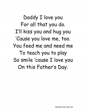 Daddy I love you For all that you do Ill kiss you and hug you by ...