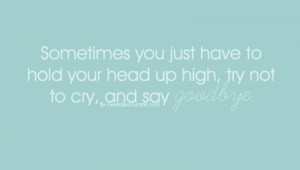 Sometimes You Just Have to hold Your Head Up High,try Not to Cry and ...