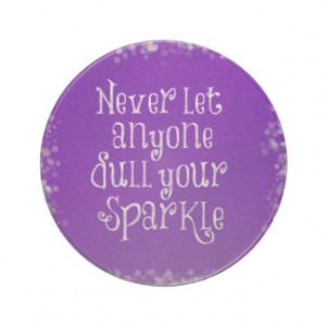 Purple Girly Inspirational Sparkle Quote Drink Coasters