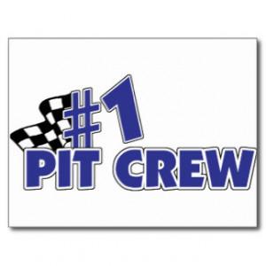 Pit Crew Checkered Flag Postcard