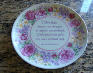 ... Floral Plate Gibson Greetings Inspirational Quote Helen Steiner Rice