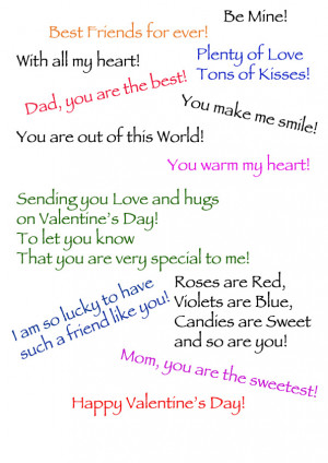 Print some quotes for Valentine's Day Cards