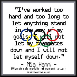 ... not let myself down – Olympic Motivational Sports Quote with picture