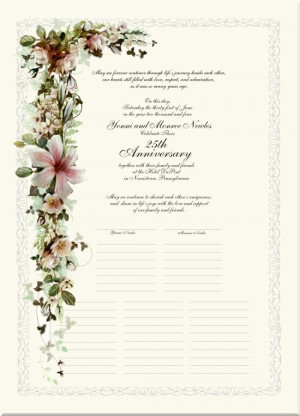 Silver 25th Anniversary White Roses & Lilies Certificate