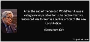 After the end of the Second World War it was a categorical imperative ...