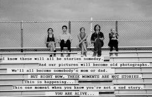 From The Perks of Being a Wallflower by Stephen Chbosky .