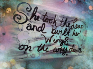 She took the leap and built her wings on the way down- Quotable Magnet