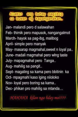 Tagalog Love Life based from your Birth Month - Tagalog Funny Quotes ...