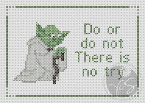 10) Name: 'Embroidery : Yoda Star Wars - There Is No Try quote