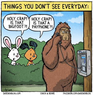 Bigfoot Makes a Call on a Payphone
