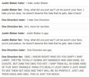 ... reactions to hate - Beliebers & Directioners - one-direction Photo