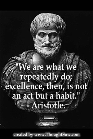 We are what we repeatedly do; excellence, then, is not an act, but a ...