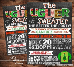 Ugly Christmas Sweater Band Invitations Templates Unconditional ...
