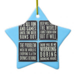 Funny beer quotes Double-Sided star ceramic christmas ornament