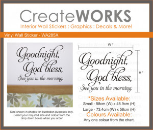 Details about Goodnight, God Bless Wall Sticker | Wall Quote | Wall ...