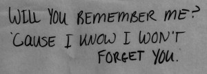 Will You Remember Me