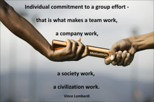 picture of passing of the baton with the quote: Individual commitment ...