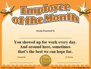Funny Employee Of The Month Certificate Template