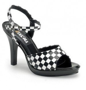 Add Some Fun with Black and White Checkered Wedding Heels