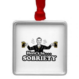 Here's To Sobriety - Funny Drinking Design Square Metal Christmas ...