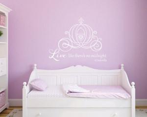 Cinderella princess carriage girls room Cinderella quote vinyl wall ...