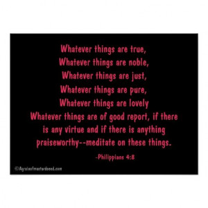 Think on these things Bible Quotes Prayer Print