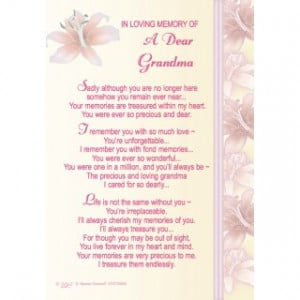 In Memory Of Grandmother Quotes Quotesgram