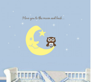 Owl Baby Nursery Wall Decal Saying Quote Moon Toddler Vinyl Sticker ...