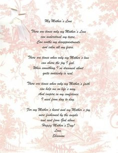 Mothers Day Poems For The Deceased Mothers Day PoemsMothers Day ...